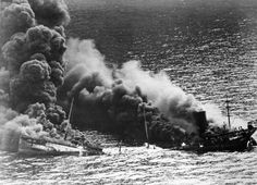 Oil tanker Dixie Arrow is torpedoed near Cape Hatteras (USA) during Battle of the Atlantic (1942) [2921  2112]