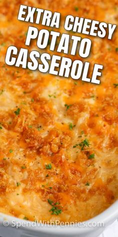 Cheesy Potato Casserole is the perfect dish to serve for breakfast. Hashbrowns baked with cheese, soup, sour cream, and some spices! Cheesy Potatoes With Hashbrowns, Cheesy Potato Casserole, Potatoe Casserole Recipes, Potato Recipes, Casserole Dishes, Breakfast Potato Casserole, Baked Potatoes, Potato Side Dishes, Veggie Dishes