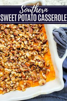 This Southern Sweet Potato Casserole has been a family classic for over 70 years. The sweet potato filling is creamy and sweet then topped with a crispy pecan topping. This traditional southern recipe is perfect for Thanksgiving, Christmas, Easter or an large party or gathering. Holiday Side Dishes, Thanksgiving Side Dishes, Thanksgiving Recipes, Thanksgiving Casserole, Fall Dishes, Easter Recipes, Holiday Recipes, Potatoe Casserole Recipes, Sweet Potato Casserole