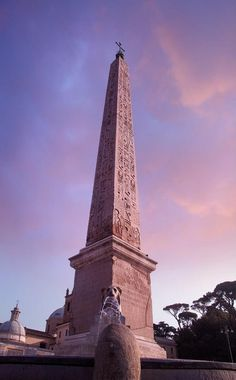 The obelisk at the Piazza del Popolo in Rome, Italy.