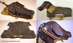 """All of Sassy dog's """"friends"""" wear this.......It is believed to have been created for the pet of a wealthy, high-ranking and presumably eccentric samurai or daimyo (feudal lord) in the mid to late Edo period (mid-18th to mid-19th century). Although the carved wooden helmet and coat of black-lacquered scale mail would have provided effective protection against enemy attack, evidence suggests the canine never wore the armor into battle."""