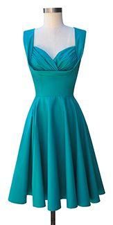 Trashy Diva Honey Dress | 1950s Inspired Dress | Teal Poplin