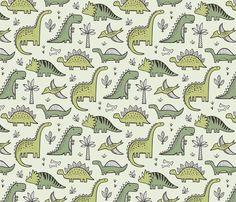 Dinosaurs in Green fabric by caja_design on Spoonflower - custom fabric Dinosaur Fabric, Dinosaur Pattern, Dinosaur Design, Cute Wallpaper Backgrounds, Cute Wallpapers, Iphone Wallpaper, Photo Backgrounds, Cool Patterns, Print Patterns