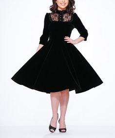 Love this Black Velvet Lace-Accent A-Line Dress - Plus Too on #zulily! #zulilyfinds