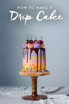 There is a time and place for flawlessly decorated cakes with military precision piping (your wedding cake, for example). But a whimsical drip cake makes any day special. Learn how to transform a basi (Drip Cake) Creative Cake Decorating, Cake Decorating Tutorials, Creative Cakes, Decorating Games, Bolo Drip Cake, Drip Cakes, Gorgeous Cakes, Amazing Cakes, Drip Cake Recipes