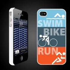 "Triathlon Themed ""Swim Bike Run"" - White Protective iPhone Hard Case - - Product Description: Made for or Verizon or At Phones. Iphone 4 Cases, Iphone 4s, Gifts For Triathletes, Thing 1, Triathlon Training, Cool Gear, Workout Accessories, Bike Run, Gadget Gifts"