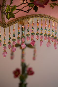Nightshades -Pair of Japanese Tea Garden Shades Bohemian Crafts, Victorian Lamps, Hand Embroidery Videos, Bohemian Bedroom Decor, I Believe In Pink, Beaded Curtains, Crystal Magic, Dream Catcher Boho, Passementerie
