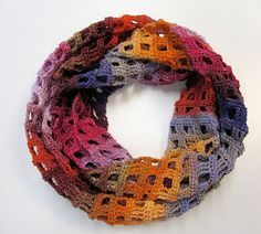 Windowpane Scarf pattern by Adrienne Lash perfect for showing off the gorgeous colorways in elann Pippi Longcolors Lite.