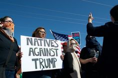 Native Americans were among 120 protesters who blocked a road leading to a Donald Trump rally on Saturday in Fountain Hills, Arizona. Photo by Simon Moya-Smith.