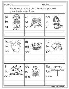 Palabras de tres sílabas. Páginas de práctica Bilingual Classroom, Bilingual Education, Classroom Language, Spanish Classroom, Teaching Spanish, Elementary Spanish, Spanish Worksheets, Alphabet Songs, Numbers For Kids