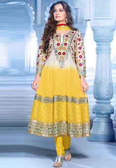 #DesiButik Holy Special Offer30% Discount for only FB User.Code FB30    The Magic Of ! Yellow Georgette Chuddidar Kameez with Dupatta  INR:-7190