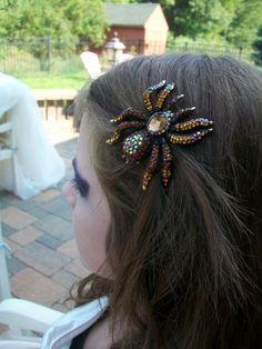 Spider Hair Clip Goth Halloween Wedding Headpiece by Parisxox, $62.00