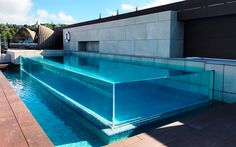 Download wallpapers glass swimming pool, stylish swimming pools, modern exterior of the house, swimming pool in the yard