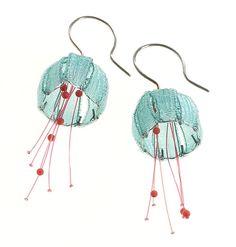 contemporary earrings by Dorit Schubert Funky Jewelry, Unusual Jewelry, Fabric Jewelry, Unique Earrings, Modern Jewelry, Clay Jewelry, Jewelry Art, Handmade Jewelry, Jewelry Design