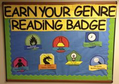 Create 'badges' for different genres...kids can earn a badge when they read in that genre or reach a goal in that genre. Neat idea.