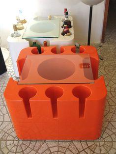 """Orange Artemide """"Bacco"""" Bar, design by Sergio Mazza in 1967"""