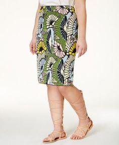 2eb421cb84a45 RACHEL Rachel Roy Curvy Plus Size Floral-Print Pencil Skirt Plus Size  Pencil Skirt