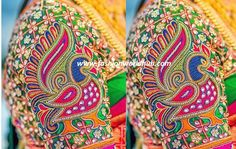 peacock embroidery work blouse maggam work bridal heavy work blouse embellished with kundans and zardosi work stone work 2017 latest blouse designs thread work Peacock Blouse Designs, Peacock Embroidery Designs, Silk Saree Blouse Designs, Bridal Blouse Designs, Peacock Design, Beaded Embroidery, Stone Work Blouse, Aari Work Blouse, Magam Work Designs