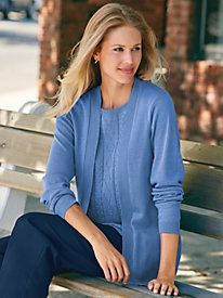 No-fuss good looks. One cleverly designed piece looks like two ~ 2-in-1 Flyaway Sweater from Blair