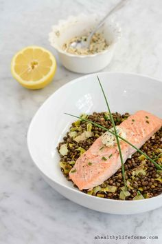 Salmon and Lentils with Herb-Mustard Butter is an easy, gorgeous and delicious one bowl dinner that you can serve to the family during the week or at a dinner party. Gluten Free and ready in 25 minutes. - A Healthy Life For Me