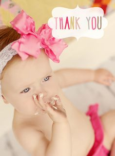 first birthday thank you card by lovepeppermintplum on Etsy, $10.00