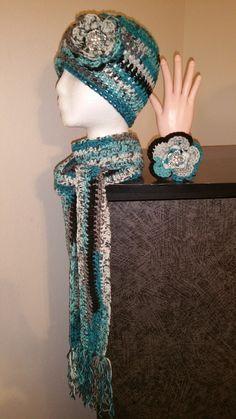Blue & Black Mix Handmade Crochet Hat, Scarf & Bracelet Set http://www.bonanza.com/listings/405957987