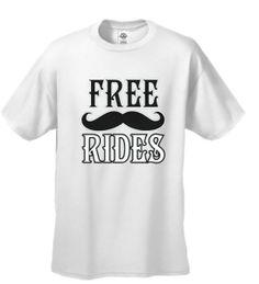 Funny T-shirt Mens Tshirt Free Mustache Rides Short Sleeve - White, Size: Medium