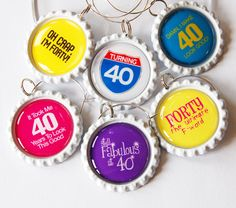 40th charms Wine Glass Charms Wine by KellysMagnets
