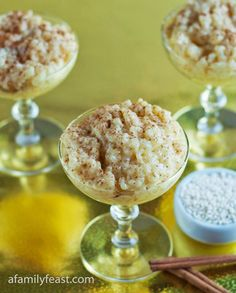 Portuguese Rice Pudding - A Family Feast® Alcoholic Desserts, Gourmet Desserts, Dessert Recipes, Plated Desserts, Portuguese Rice, Portuguese Desserts, Rice Pudding Recipes, Toasted Pumpkin Seeds, Rice Recipes For Dinner