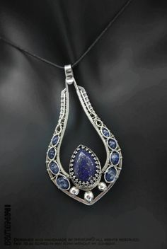 Lapis lazuli, kyanite and sterling silver pendant by IMNIUM.deviantart.com on @deviantART