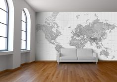 Black and White World Map Wallpaper from Watts London | Made By Watts London | £75.00 | BOUF
