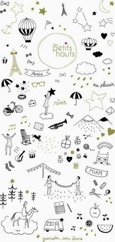 You need them for any banner or simple doodles Des Petits Hauts papier peint : marie caulliez Doodle Drawings, Doodle Art, Cute Drawings, Doodle Quotes, Illustrations, Illustration Art, Doodles, Web Design, Graphic Design