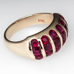 Channel Set Ruby Anniversary Ring 14K Gold $1,499.00