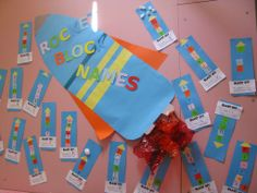 Rocket Block Names - Teaching Maths with Meaning -Cut squares, each block is a letter in the student name. Count the squares.