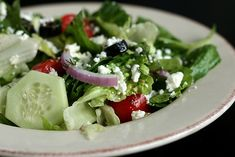 Ptbo posse, get to Jims Pizzeria before it closes and dive into a greek salad! Healthy Salad Recipes, Veggie Recipes, New Recipes, Favorite Recipes, Dishes To Go, Side Dishes Easy, Main Dishes, Greek Salad Ingredients, Clean Eating