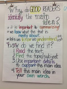 My Adventures Teaching : Why do GOOD readers identify the MAIN IDEA??