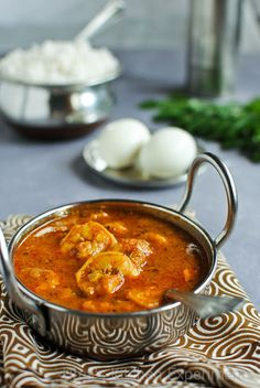 My Kitchen Experiments: Prawn Masala Curry - South Indian Style Prawn Recipes, Curry Recipes, Fish Recipes, Seafood Recipes, Indian Food Recipes, Cooking Recipes, Seafood Soup, Prawn Masala, Indian
