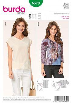 Burda 6579 - Patchwork of satijnen blouse en top