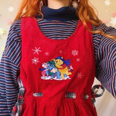3545589d84 Adorableeeee cherry red cord pinafore dress by vintage Disney.