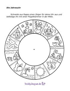 The annual clock- Die Jahresuhr The annual clock - Learning Activities, Kids Learning, Activities For Kids, What Is Parenting, Kids And Parenting, Kindergarten Portfolio, German Language Learning, Activity Sheets, Months In A Year