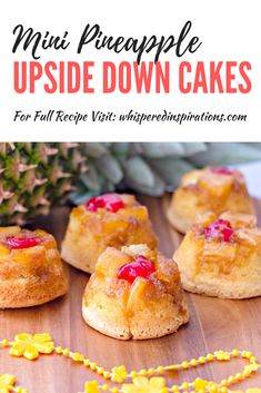 These Mini Pineapple Upside Down Cakes are soft and moist, and perfectly sweet with pineapple and a cherry on top. Perfect for parties, luaus, and cookouts! Best Dessert Recipes, Easy Desserts, Delicious Desserts, Cake Recipes, Pineapple Dessert Recipes, Sweet Desserts, Yummy Food, Mini Pineapple Upside Down Cakes, Pineapple Cake