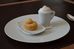 Per Se dessert tasting menu: cinnamon sugar dusted, brioche doughnut (along with the hole). Served with a frothy cappucino semifreddo