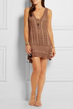 Brown crocheted cotton, sand stretch-jersey Slips on 100% cotton; lining: 95% viscose, 5% spandex Hand wash Designer color: Mocha