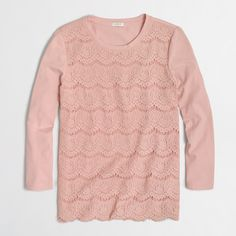 Lace-front T-shirt : long sleeve | J.Crew Factory