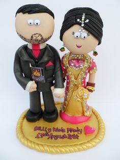Pakistani Bride & Groom wedding cake topper. Handmade & totally personalised to look like the couple. Any outfits/poses are possible, something like this would be £149.99 for the couple, £9.99 for a base (they don't need on to stand up). NOT EDIBLE, I send my work anywhere in the World.  #indianwedding #pakistaniwedding #weddings