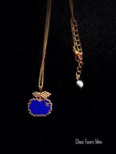Collier ras de cou Petite pomme bleu et or