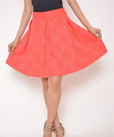 Love this Coral Pleated A-Line Skirt by Top Image on #zulily! #zulilyfinds