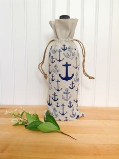 Wine Gift Bag Natural Linen Minimalist Anchor by KitchStudios, $10.00