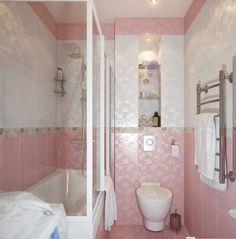 Pure Modern Pink White Small Bathroom