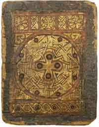 """The Finest Surviving Coptic Bookbinding (Circa 650 – 750)    MS M.569 of the Pierpont Morgan Library, considered the finest surviving Coptic bookbinding.     A Coptic bookbinding removed from an illuminated manuscript on parchment of the Four Gospels (MS M. 569) attributed to the Monastery of Holy Mary Mother of God, Perkethoout near Hamuli, Faiyum, Egypt, and preserved in the Morgan Library and Museum, is considered """"the finest surviving Coptic bookbinding."""" It is tooled goatskin ."""